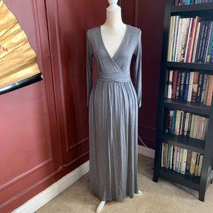 Gray Maxi Dress with Pockets